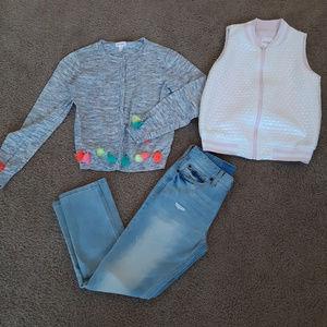 Cat & Jack  3pc jeans, top & vest girl's 10-12